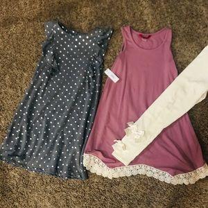 Girls dresses and leggings, new, never worn